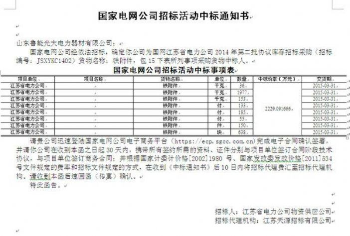 ysb248易胜博查看易胜博哪个是真的<br>标题:国家电网公司招标活动中标通知书 阅读次数:1176